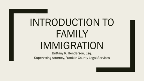 Immigration Series Part Two: Family Immigration (1 PA Substantive CLE)
