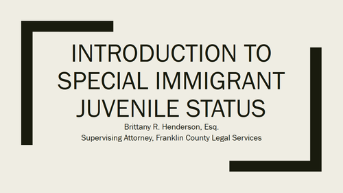 Immigration Series Part Six:  Special Immigrant Juvenile Status (1 PA Substantive CLE)