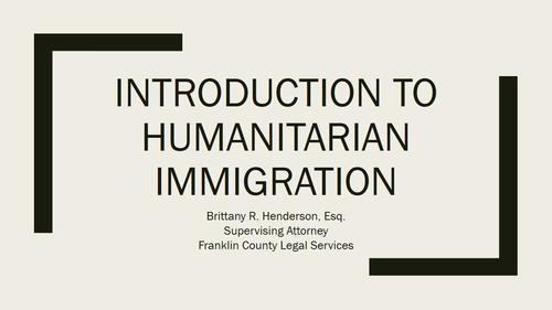 Immigration Series Part Eight: Humanitarian Immigration (1 PA Substantive CLE)