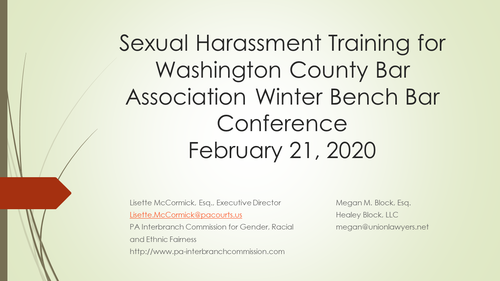 Sexual Harassment (1 PA Ethics CLE Credit)