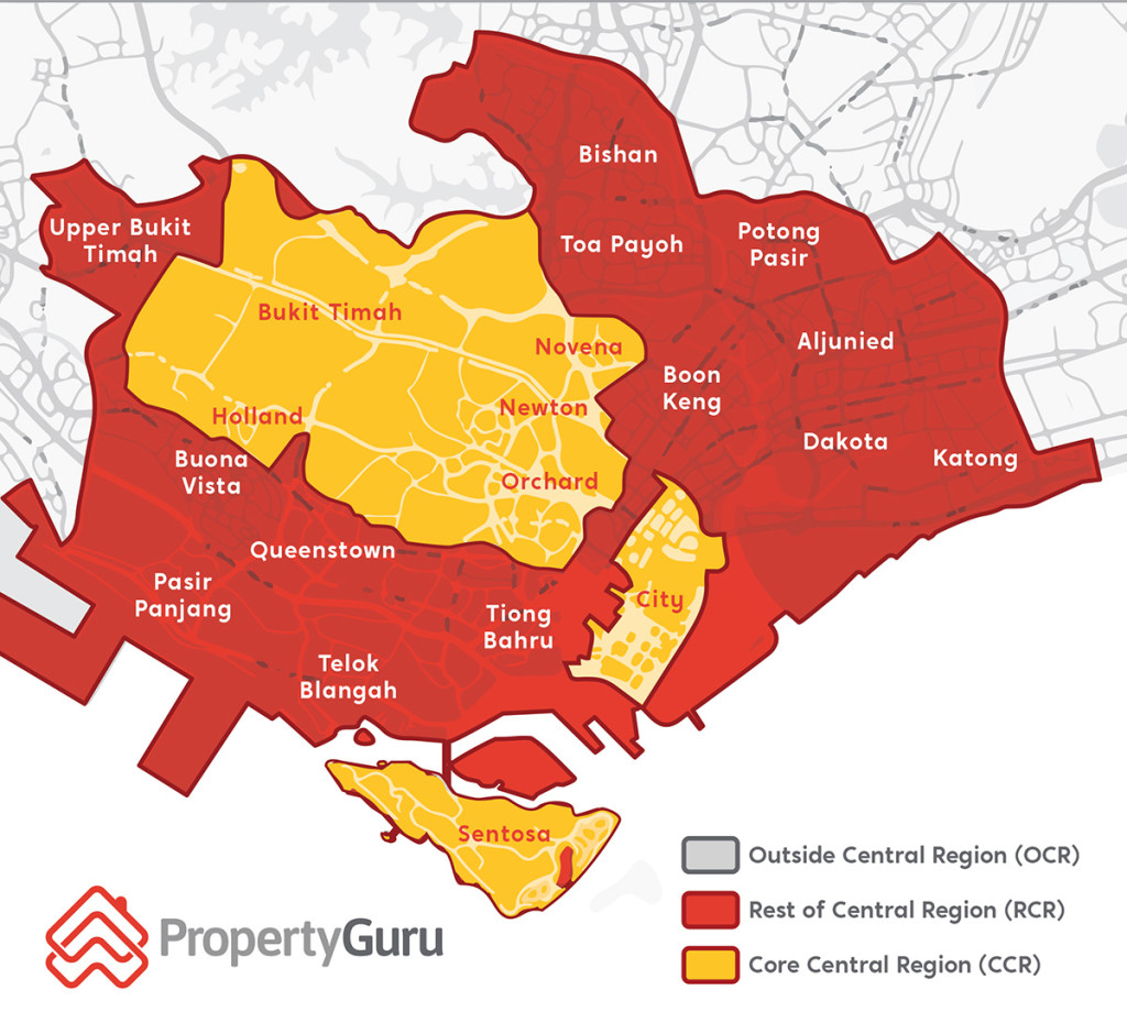CCR OCR RCR city fringe Singapore property map